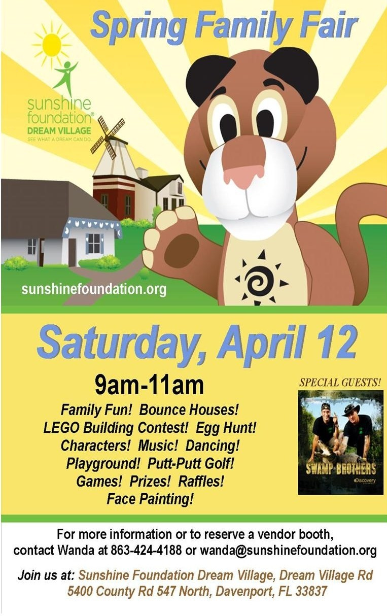 Sunshine Foundation Spring Family Fair @ Sunshine Foundation Dream Village | Davenport | Florida | United States